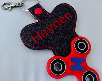 Fidget Spinner & Holder - Fidget Case w toy -  - Personalized Fidget  - Monogram - Clip on BackPack