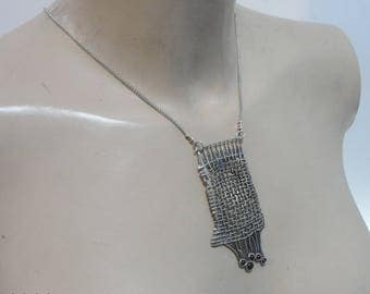 Hadar handcrafted Huge net Sterling Silver  Pendent , chain , (4144)