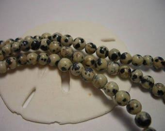 Dalmatian Jasper beads, natural gemstone, 4mm, round beads, natural jasper, 4mm gemstone beads, spotted Jasper beads, white, black, Jasper