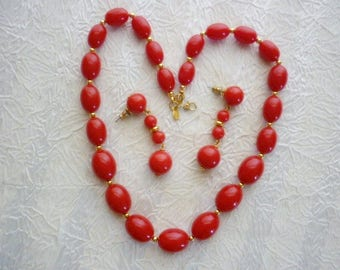 Monet Lipstick Red & Gold Beaded Necklace Earring Set-Vintage Red Lucite Necklace Earring set