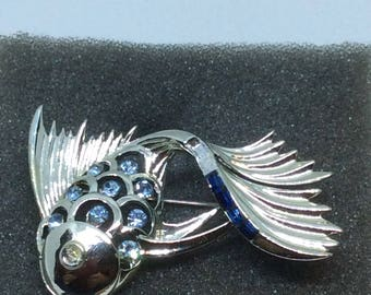 Vintage Rhinestone silver tone large fish brooch  with colored rhinestones stunning good weight