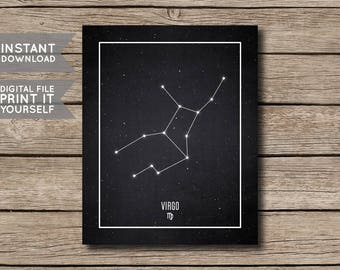 INSTANT DOWNLOAD - Virgo Constellation Print / Printable Zodiac / Horoscope Constellation Print / Poster / Chalkboard Style - Digital File