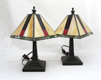 "Arts & Crafts Lamps w/ Slag Glass Shade and bronze base - 12"" tall Mantle Lamps"