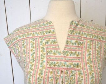 34% Off Sale - Cap Sleeve Blouse 1960s Hippie Vintage Floral Striped Top Pink White Folk Peasant Style Small Medium