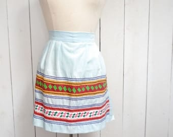 34% Off Sale - Hippie Half Apron 1960s Baby Blue Dutch Stripe Vintage Kitchen Apron