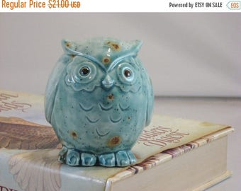 Christmas in July SALE Green/Blue Teal Owl figurine collectible ceramics hand painted home decoration. The great horned owl.