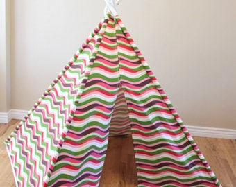 CLEARANCE Pink, Green, Lime, Tan, Salmon, Brown, White Striped, Stripe, Play Teepee, Tee Pee, Tent (poles NOT included) Ready to Ship