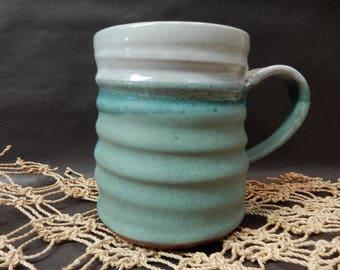 Large stoneware pottery turquoise mug….#5894
