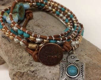 Bohemian Wrap Bracelet, Triple Wrap, Thunderbird Charm, Beachy