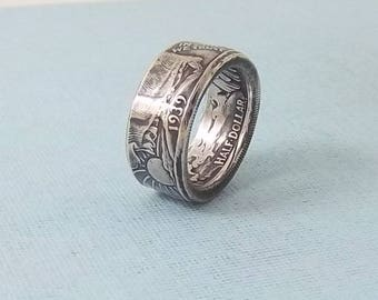 Silver coin ring walking liberty half dollar 90% fine silver jewelry year 1939 size 9