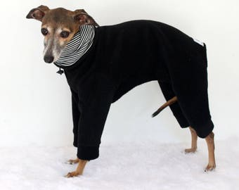 Italian Greyhound Black Jammies with Classic Fine Stripe White and Black jersey lined Snood/Neck Warmer - measurements essential