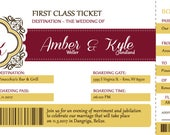 Plane Ticket Wedding Invitations, Destination Wedding Invitation, Burgundy Boarding Pass, Custom Listing for Amber
