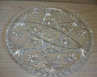 """Early American Prescut Crystal Serving Cake Sandwich Tray 13 1/2""""  Wide Star Of David  Anchor Hocking 1940-60"""