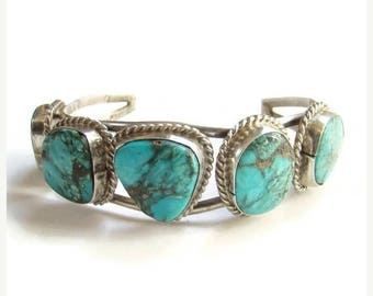 ON SALE Navajo Morenci Turquoise Cuff Bracelet Sterling Silver Native American Vintage