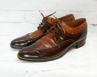 Vintage 90s Ostrich Leather Wingtip Brogues Oxford Shoes Brown Men 7 Women 9 Grunge Revival Gatsby 20s