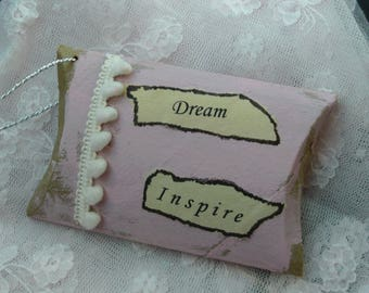 Shabby Chic Pillow Box, Small Gift Box, Upcycled, Pink Box, Inspirational Ornament