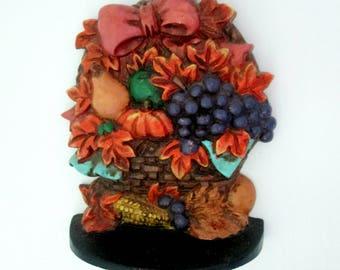 Cast Iron Autumn Basket Doorstop // 1991 House of Lloyd // Fall Leaves Pumpkins Decor