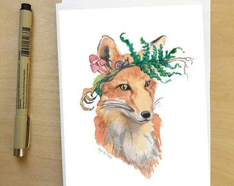 Foraging Fox, woodland animal portrait greeting card by Abigail Gray Swartz