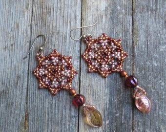 Handmade Artisan Beadwork - Earrings - Beadweaving - Dream Catcher