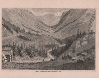 Antique French Engraving from 1860 Vestfjordal Valley, Norway by Gustave Doré