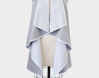 drape vest, vest, flowy vest, grey vest, silver vest, waterfall vest, light grey vest, aline vest, circle vest