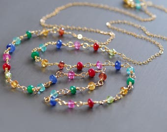 Special Order Colorful Multi Gemstone Necklace by Agusha