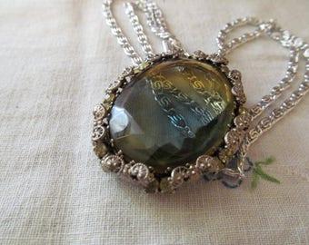 West Germany Pendant Necklace Oval Silver Tone Glass Vintage