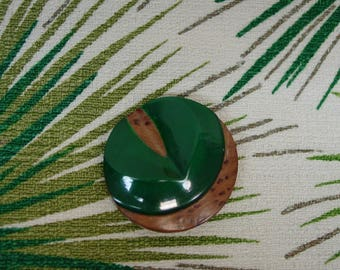 """Vintage Button  1 1/2"""", Wood and Plastic (Casein?) Very Cool"""