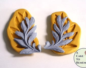 "2.5"" Laurel leaf set silicone mold for cake decorating, fondant and gumpaste. Also good for polymer clay, air dry clay, pmc push mold M5170"