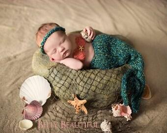 Baby Mermaid Photo Prop Outfit - Newborn Baby Mermaid Blanket - Baby Mermaid Tail Halloween Costume