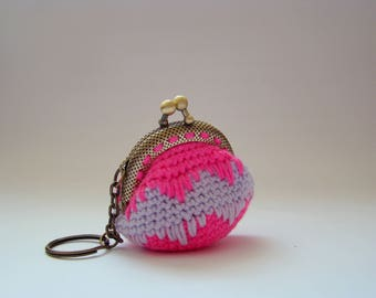 Pink purse for women coin purses crochet coin purse coin purse keychain mini coin purse coin purse with keychain money bag