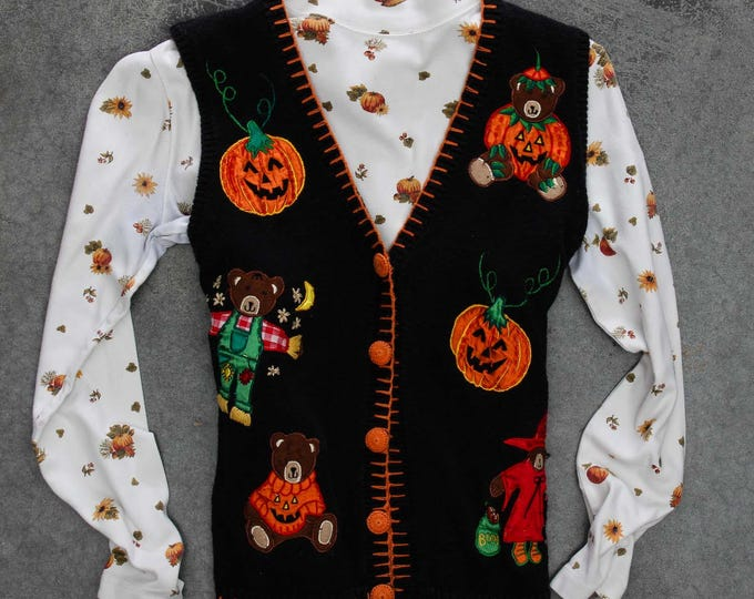 Vintage Ugly Halloween Sweater Vest & Turtleneck | Matching Outfit for Tacky Halloween Party