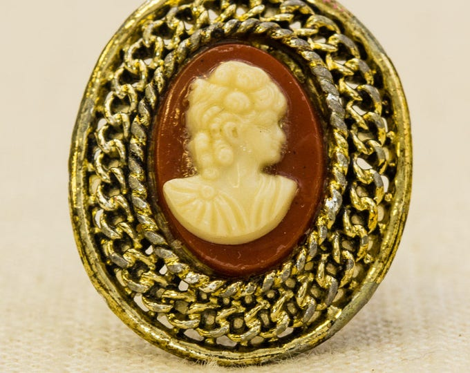 Cameo Victorian Style Vintage Ring Gold Metal Red Orange Ivory Oval Adjustable Size 7RI