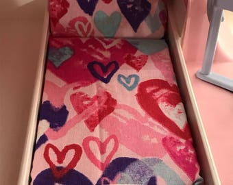 Dollhouse Mattress- fits LITTLE TIKES vintage dollhouses- heart pattern