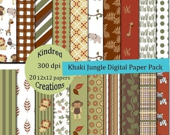 ON SALE Khaki Jungle Digital Paper Pack 300 dpi 12x12 20 papers For Personal or Small Business Use