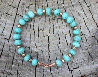 Turquoise Bangle Bracelet - Copper Bangle Bracelet - Gemstone Bangle - Beaded Bangle - Turquoise Magnesite - Wire Bangle - Two Feathers