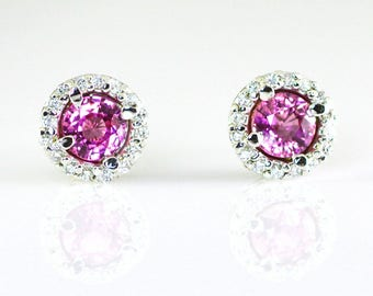 Pink Sapphire and Diamond Halo 14K White Gold Stud Earrings