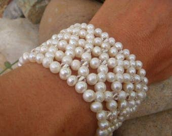 Thick Pearl Cuff - Bridal Bracelet - Pearl Bracelet - Boho Bride - Thick Cuff - Beaded Bracelet - Sterling Silver- Intricate Bracelet