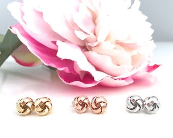 Rose Gold Earrings, Bridesmaid Gift, Tie the knot earrings bridesmaid earrings, gold earrings wedding jewelry bridesmaid jewelry birthday