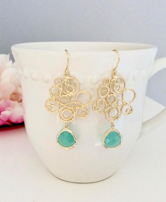 Gold Earrings, Dangle Earrings, Bridesmaids Jewelry, Bridesmaid Earrings, Boho Chic Birthday Gift, Best Friend Gift, Girlfriend
