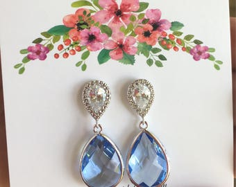 Bridesmaid Earrings - Blue Bridesmaid Earrings - Bridesmaid Gift - Wedding  Jewelry - Something Blue - Mother of the Bride Jewelry