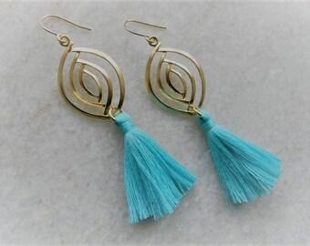 Tassel Earrings, Tassel Jewlery, Gold Tassel Earrings, Fringe Earrings, Statement Earrings, Jewelry Gift for Women, Christmas Gift, Tassel