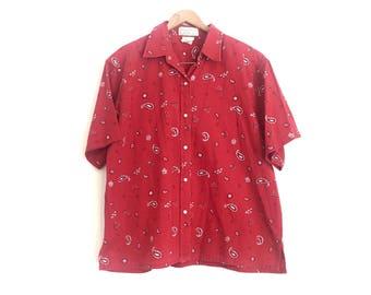 Vintage Bandana Print Shirt // Red Bandana Short Sleeve Oxford Shirt // Vintage Red Bandana Western Shirt