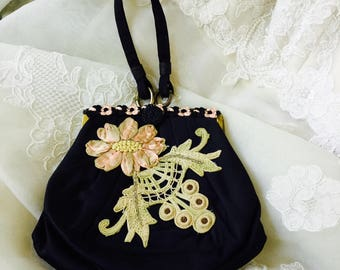 NEW - Vintage Black Satin Purse with Vintage Embroidery