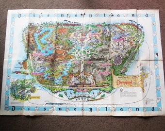 Original Vintage Disneyland Park Map, 1960s Walt Disney Poster Map of Disneyland c.1962