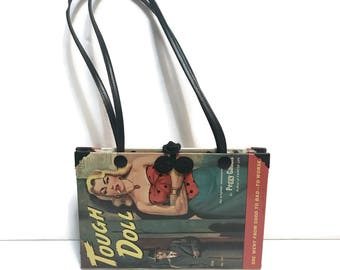 Vintage Pulp Fiction Book Handbag Purse by Maddie Powers, Tough Doll, dual leather straps, animal print fur
