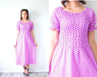 20% OFF JULY 4th SALE Vintage purple turtle print maxi dress // boho dress // 70's dress // short sleeve modest dress // notice print dress
