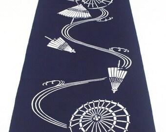 SALE Japanese Vintage Indigo Yukata Cotton. Full Fabric Bolt. Hand Dyed Deep Indigo, Blue Modern Traditional Umbrella (Ref: 1584)
