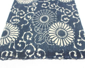 Reversible Antique Boro Textile. Japanese Katazome Cotton. Indigo / Aizome Fabric (Ref:1381 )