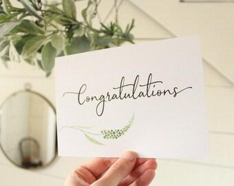 Congratulations Card | Watercolor Greenery Wedding Card | Congratulations Wedding Card | Greeting Card